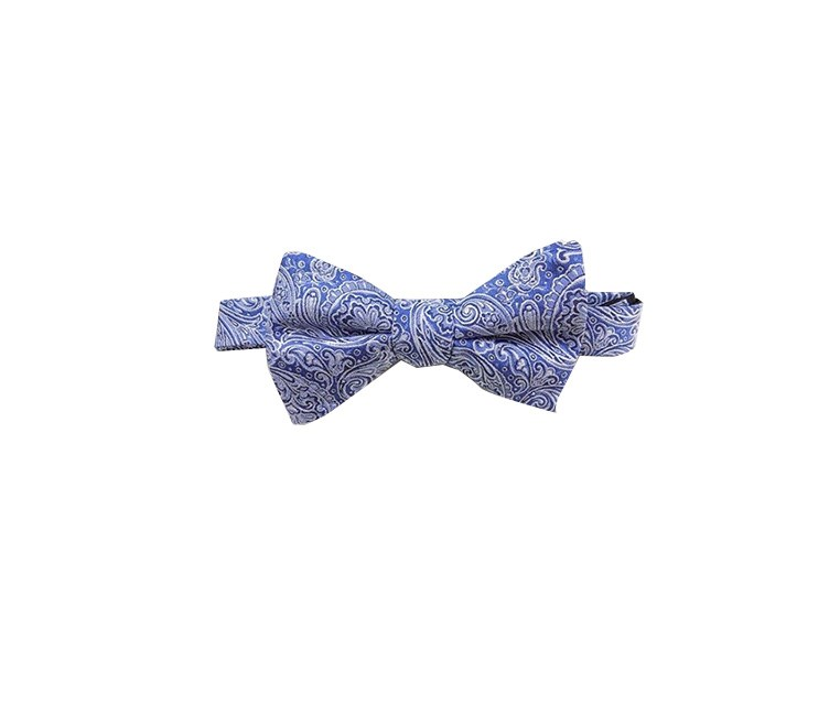 Paisley Men Silk Blend Bow Tie, Blue