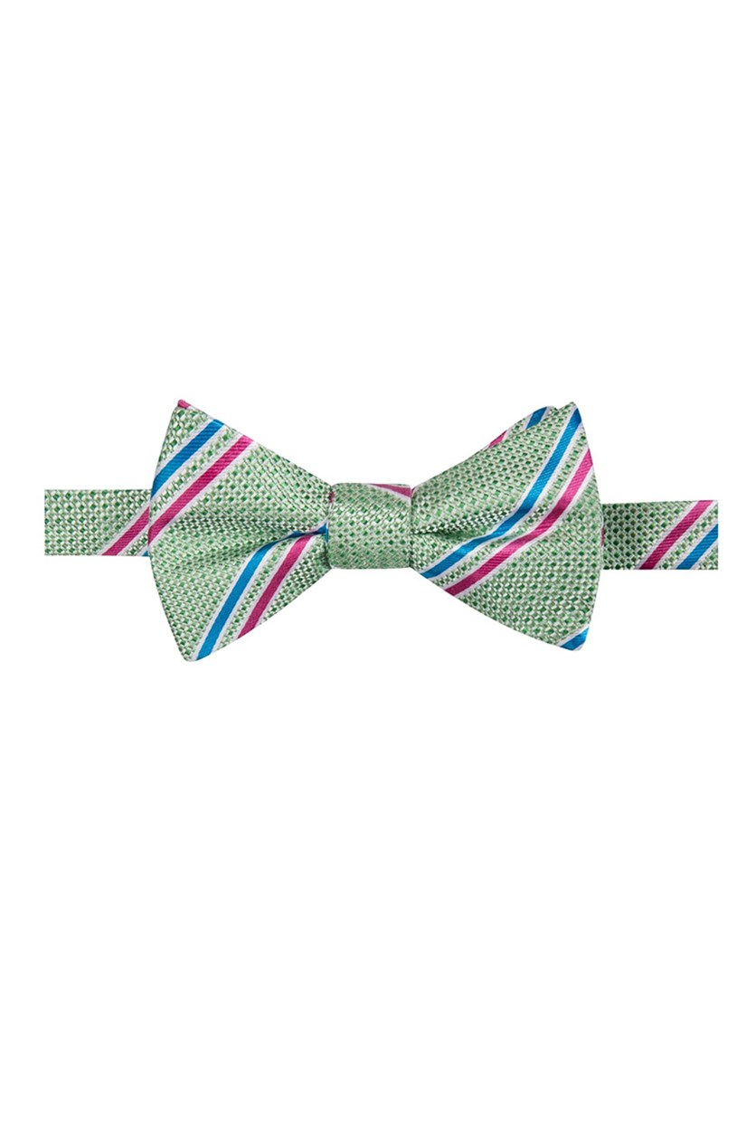 Men's Decker Stripe Pre-Tied Bow Tie, Green