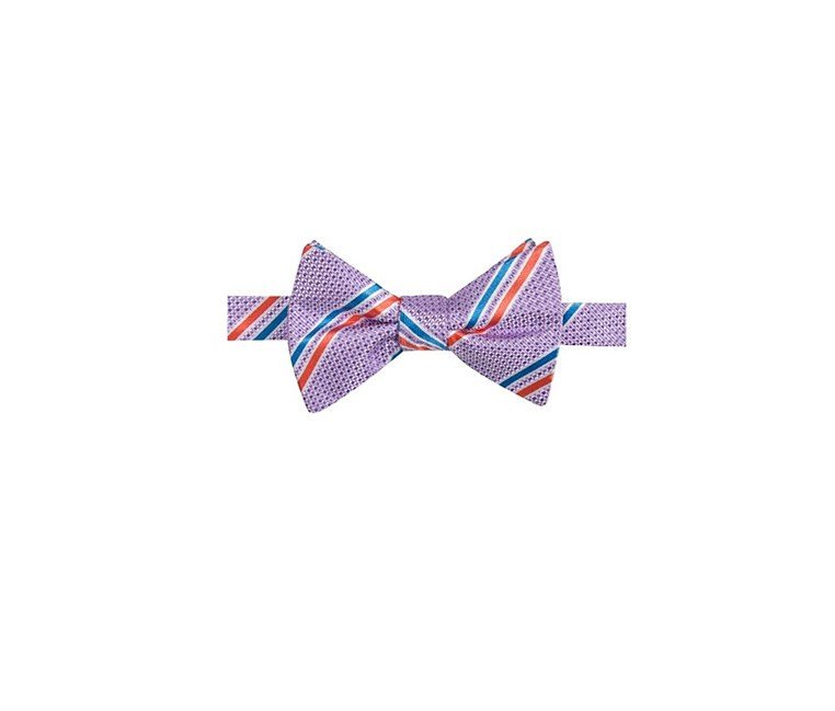 Men's Decker Stripe Pre-Tied Bow Tie, Purple