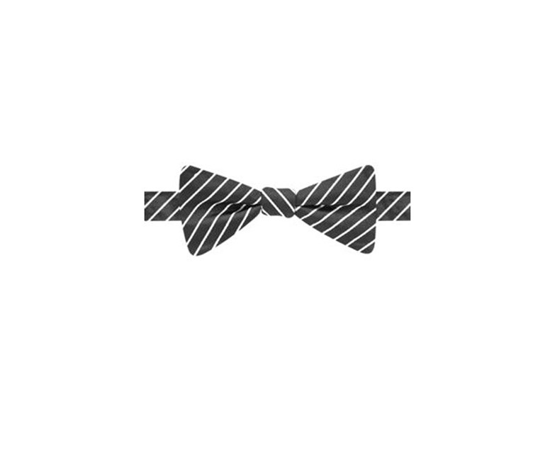 Black & White Stripe Bow Tie, Black/White
