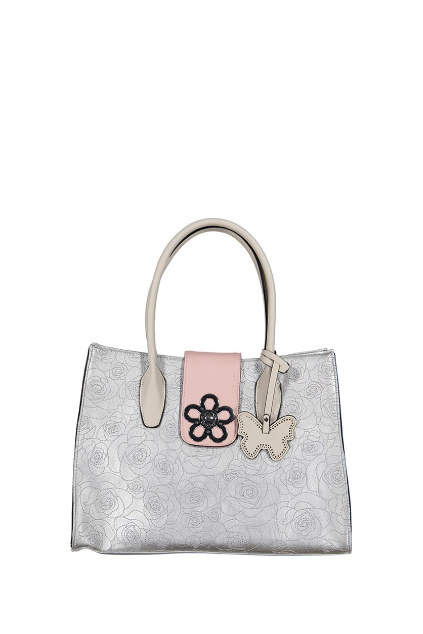 Hailey Tote Bags, Silver/Pink