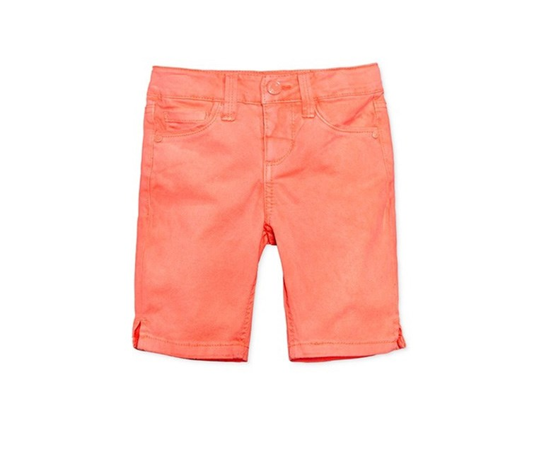 Colored Denim Bermuda Shorts, Coral