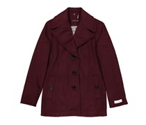 Petitie Single Breasted Peacoat, Plum