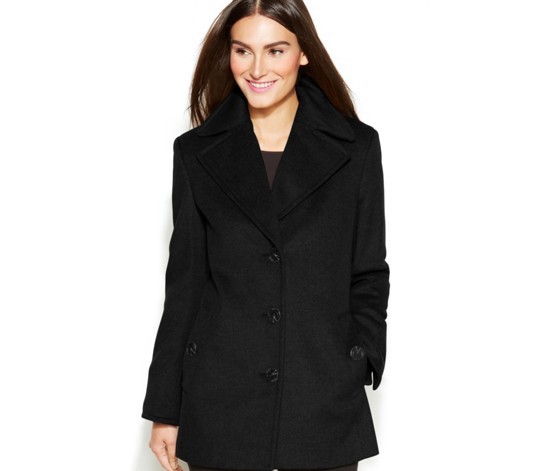 Petite Wool-Blend Single-Breasted Peacoat, Black