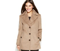 Petite Wool-Blend Single-Breasted Coat, Oatmeal