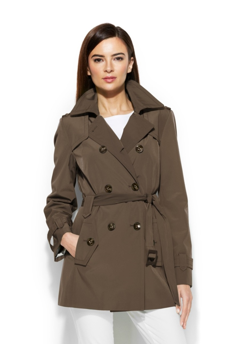 01e03303163 Shop Calvin Klein Calvin Klein Petite Double-Breasted Belted Trench ...