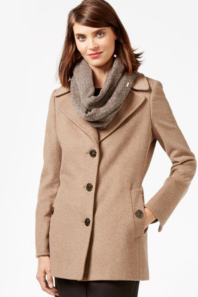 Petite Single-Breasted Peacoat, Oatmeal