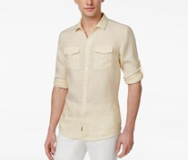 Michael Kors Men's Slim-Fit Dual-Pocket Shirt, Yellow/White