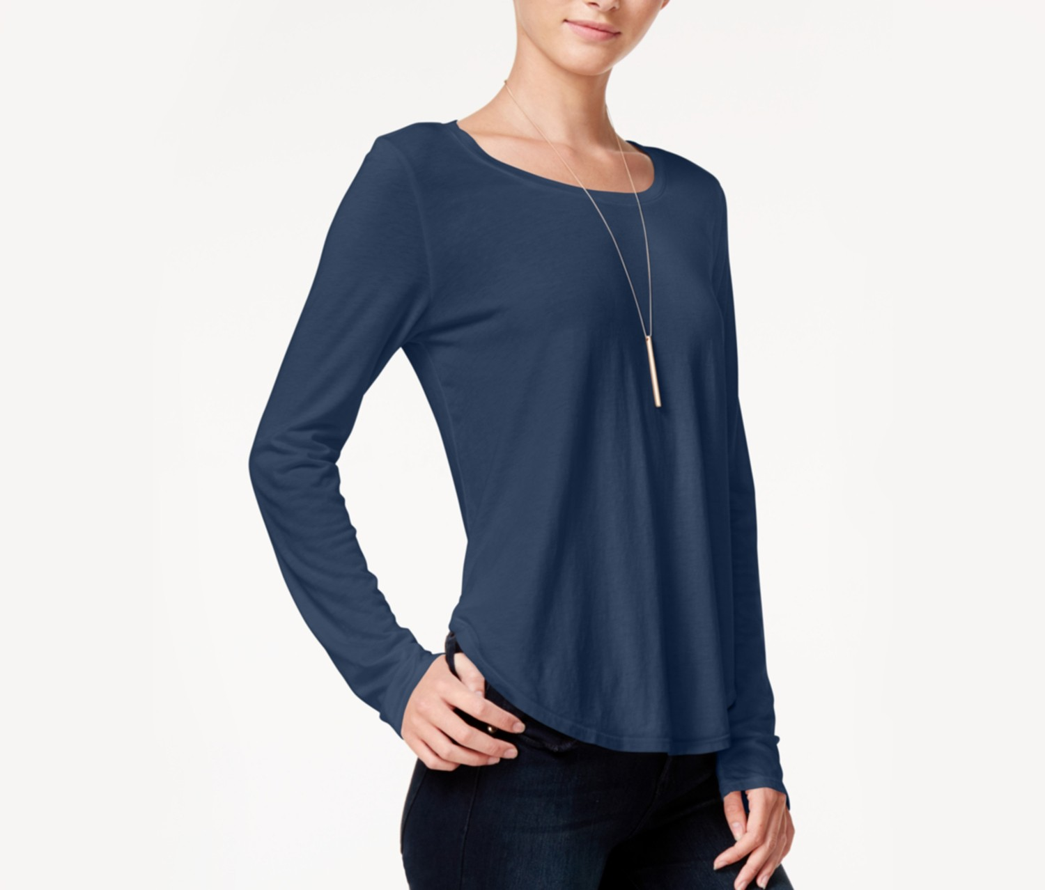 Chelsea Sky Keyhole-Back High-Low Top, Navy