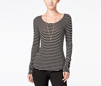 Chelsea Sky Montrose Striped Open-Back Top, Black