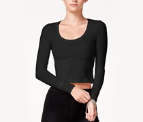 Long-Sleeve Cropped T-Shirt, Black