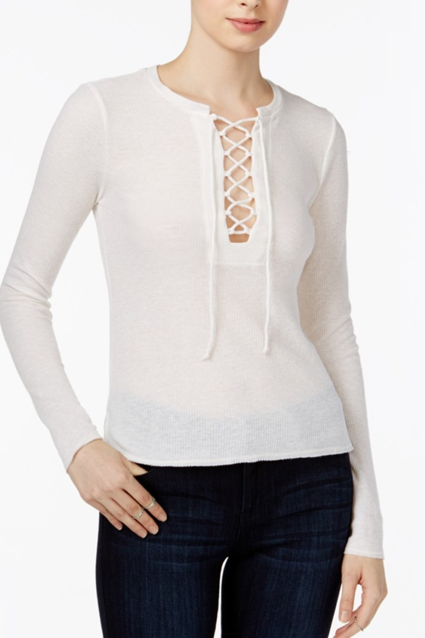 Long-Sleeve Lace-up Top, Off White
