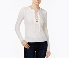 Chelsea Sky Long-Sleeve Lace-up Top, Off White