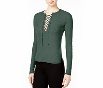 Chelsea Sky Lace-up Knit Top,  Evergreen
