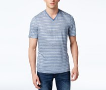 Michael Kors Mens Striped V-Neck T-Shirt, Pearl Grey