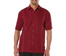 Cubavera Mens Ombre Stitch Embroidered Shirt, Cabernet
