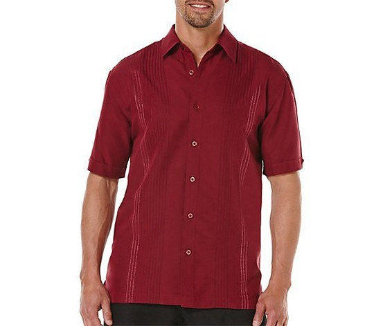 Mens Ombre Stitch Embroidered Shirt, Cabernet