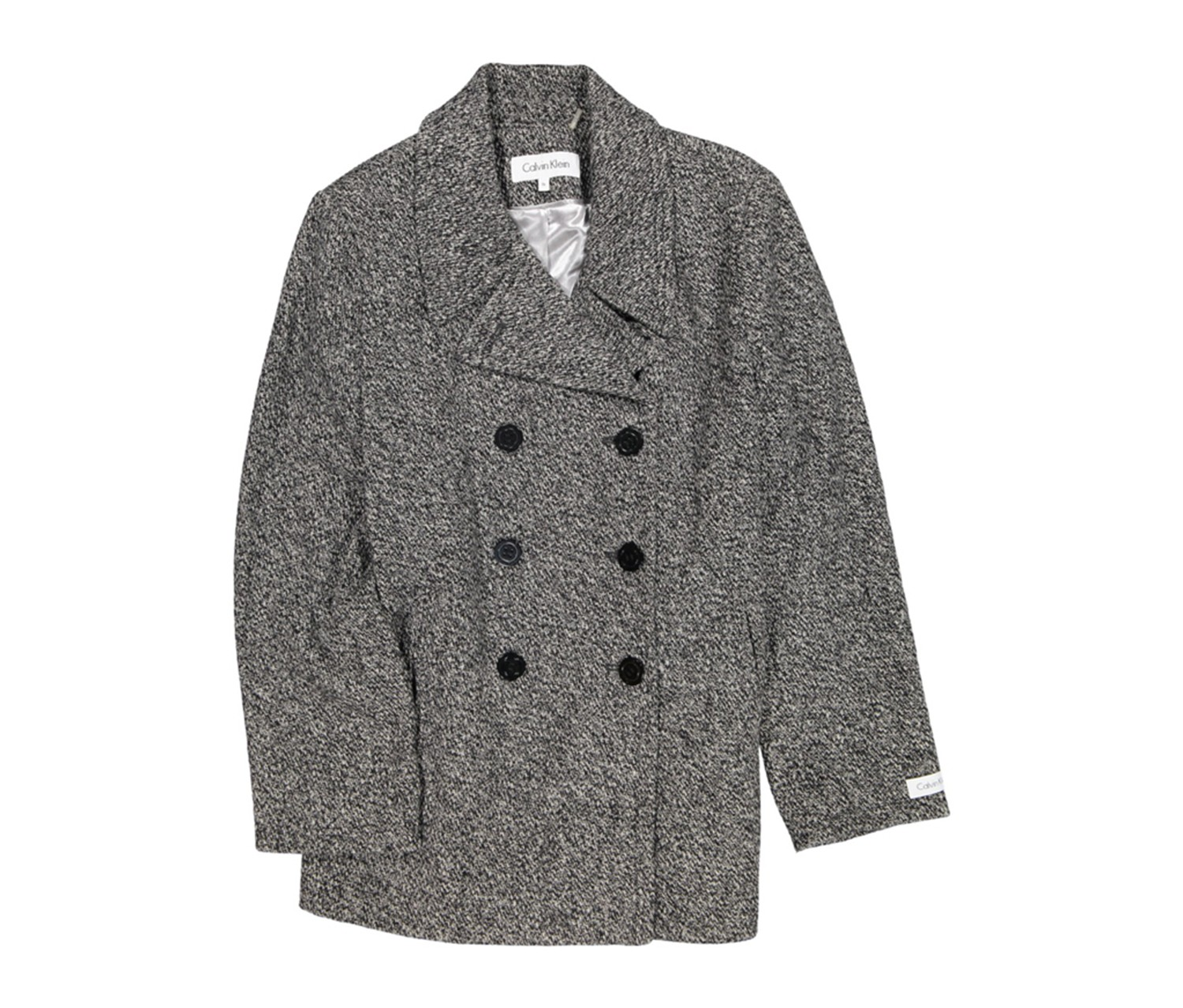 Double Breasted Peacoat, Black/White