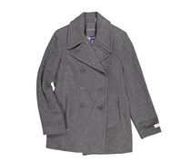 Double-Breasted Notch Collar Peacoat, Grey