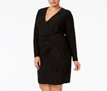 Plus Size Sparkle Ruched Faux-Wrap Dress, Black