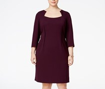 Calvin Klein Plus Size Notched Scuba Sheath Dress, Aubergine