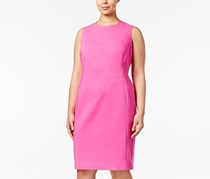 Calvin Klein Plus Size Compression Starburst Sheath Dress, Shocking Pink