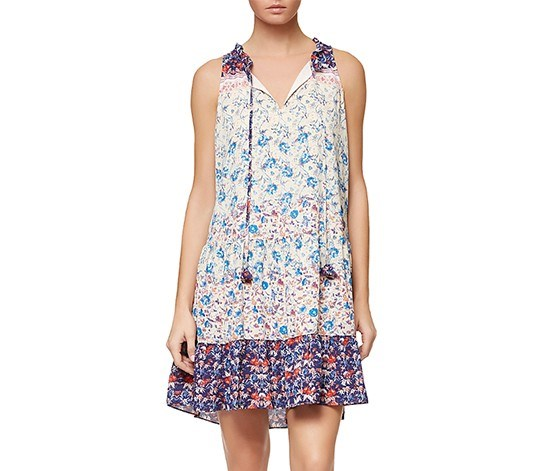 Womens Fleur De Bohemian Dress, Ivory/Blue
