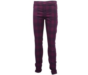 Girls Tractor Denim Pull On & Stretch Jeggings, Berry Plaid