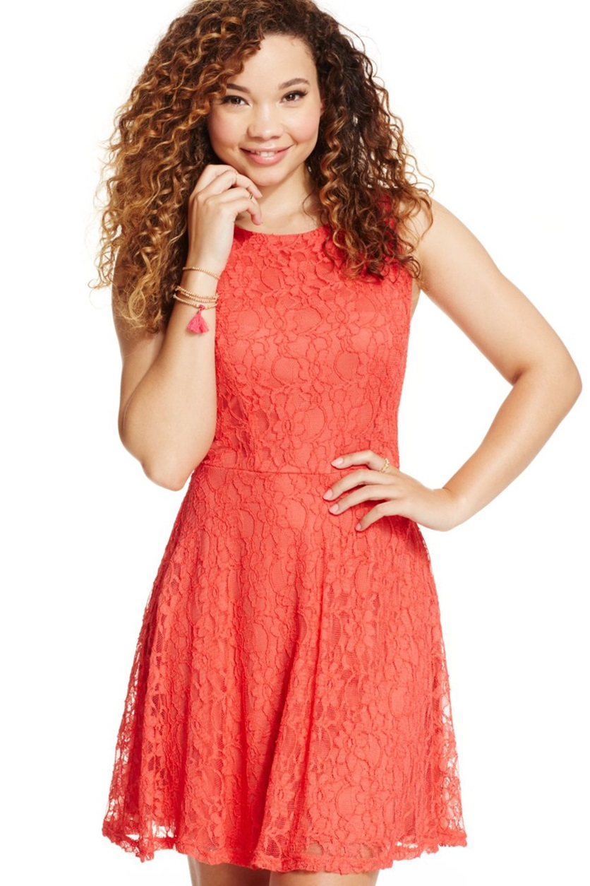 c6b4d4b82 Shop Speechless Speechless Juniors Lace Skater Tank Dress Coral Spice for Women  Clothing in United Arab Emirates - Brands For Less