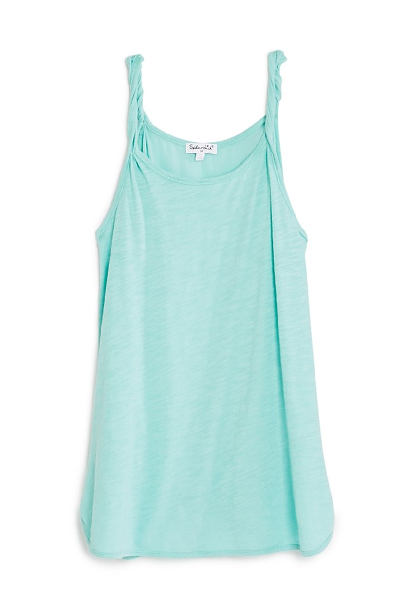 Girls' Twisted Strap Tank, Aqua