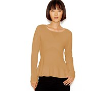 Bar III Womens Pointelle Peplum Sweater, Indian Tan