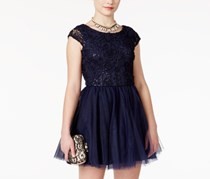 Emerald Sundae Sequined Soutache Tulle Skater Dress, Navy