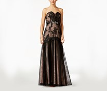 Women's Strapless Lace Mermaid Gown, Black/Blush