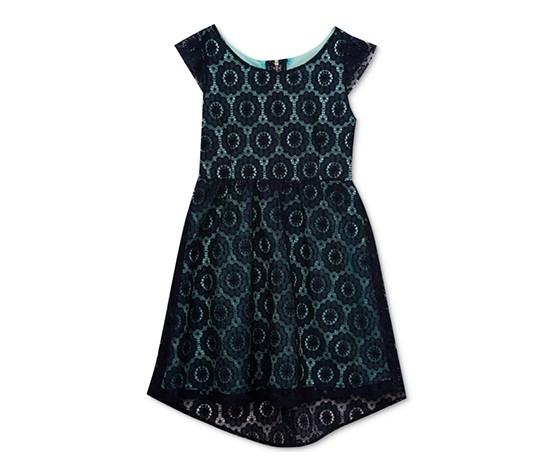 Rare Editions Lace Dress, Navy