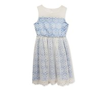 Rare Editions Illusion-Neck Lace Dress, Blue