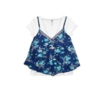 Beautees Girls 2-Piece Strappy Print Top, Navy/White