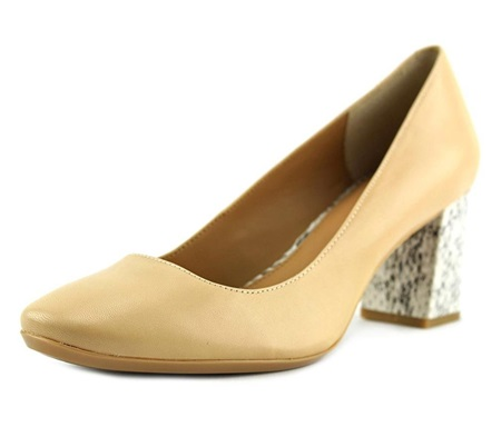 9ea494beca More Details. Leather; Synthetic sole; Round-toe pump; Wrapped block heel  ...