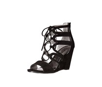 Carlos Madelyn Lace-Up Wedge Sandals, Black