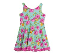Rare Editions  Floral A-Line Dress, Turquoise/Pink