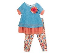 Rare Editions 2-Pc. Layered-Look Tunic & Leggings Set, Blue