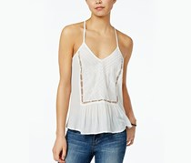 Roxy Juniors' Prism Pattern Embroidered T-Back Top, Marshmallow