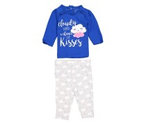 Emily And Oliver Toddlers Cloudy with a Chance of Kisses Set, Blue/Grey