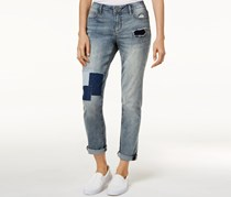 Earl Jeans Patchwork Cuffed Jeans, Blue Wash