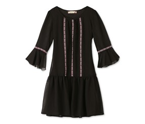 Speechless Girls' Bell-Sleeve Drop-Waist Dress, Black