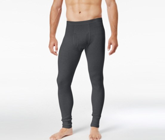 Men's Solid Textured Thermal Pajama Pants, Charcoal
