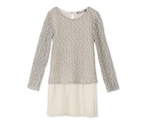 Speechless Drop-Waist Sweater Dress, Ivory/Silver