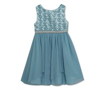 Rare Editions Satin-Bodice Tulle Party Dress, Light Blue