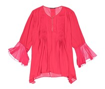 T Tahari Kate Bell Sleeve Satin Blouse, Fuchsia