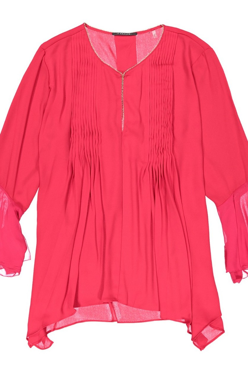 Kate Bell Sleeve Satin Blouse, Fuchsia