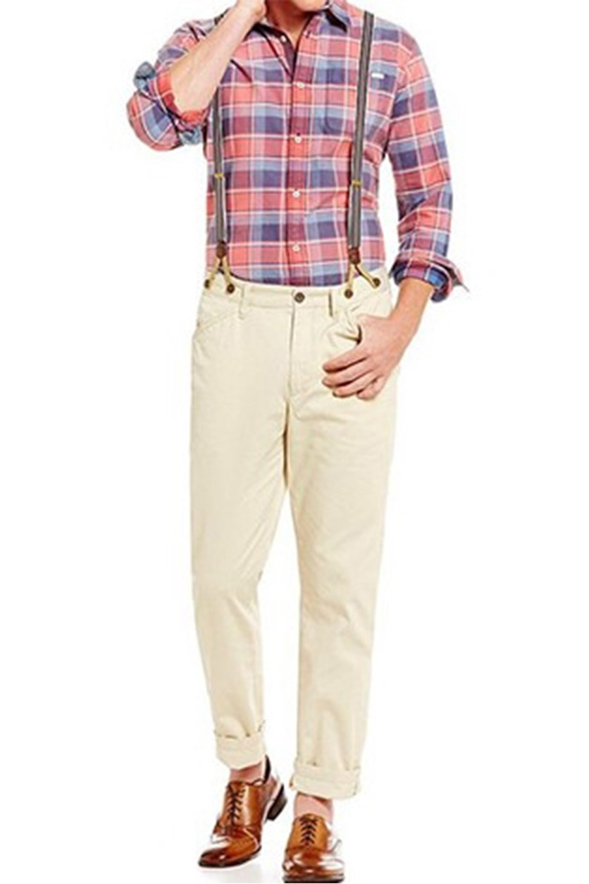 Alfred Suspenders Chino Pants, Khaki